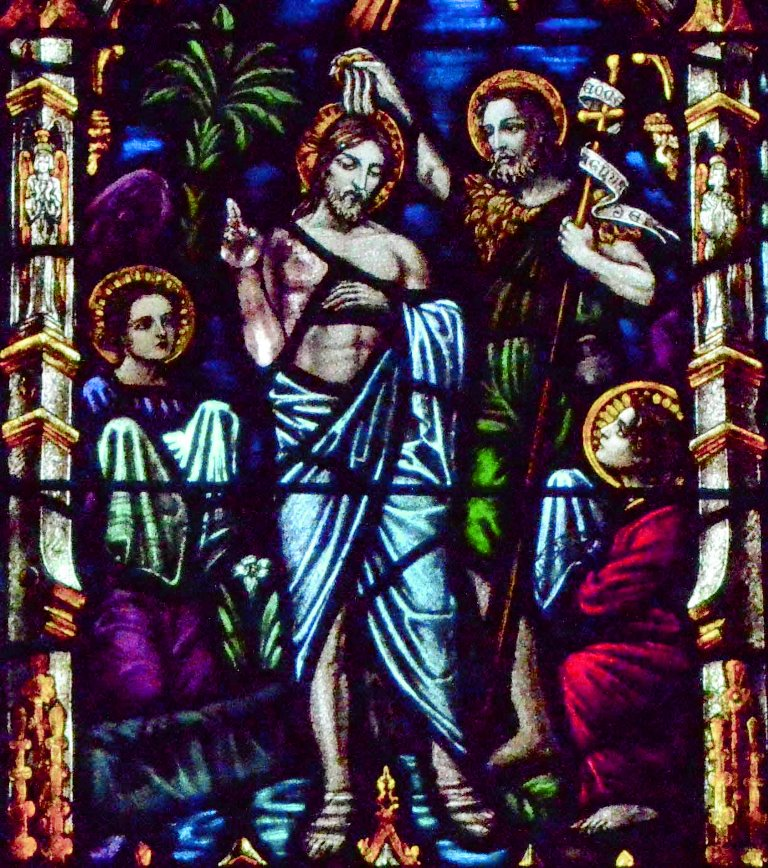 Baptism of Christ by John the Baptist.
